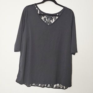 Lane Bryant Black Top with Lace Back. Sz 14/16